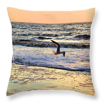 Jonathan Livingston Seagull Throw Pillow by Kristin Elmquist