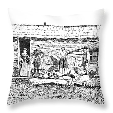 Kansas: Early House, 1854 Throw Pillow by Granger