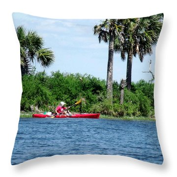 Kayaking Along The Gulf Coast Fl. Throw Pillow by Marilyn Holkham