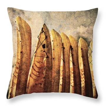 Kayaks Throw Pillow by Skip Nall
