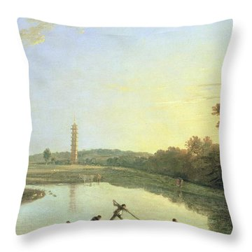 Kew Gardens - The Pagoda And Bridge Throw Pillow by Richard Wilson