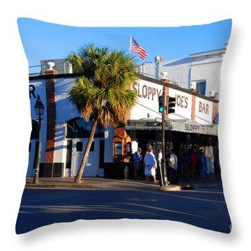 Key West Bar Sloppy Joes Throw Pillow by Susanne Van Hulst