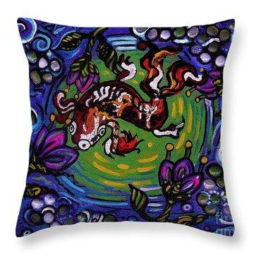 Koi Fish Throw Pillow by Genevieve Esson