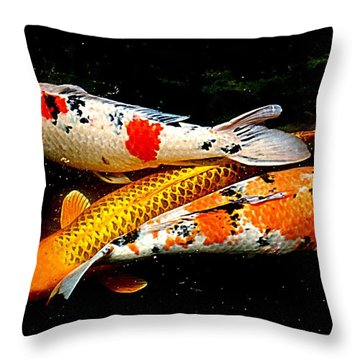 Koi Story Three E Throw Pillow by Randall Weidner