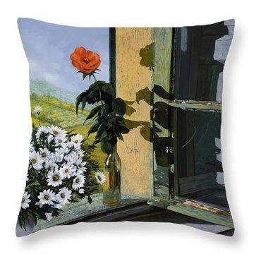 La Rosa Alla Finestra Throw Pillow by Guido Borelli