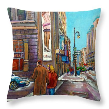 La Senza Peel Street Montreal Throw Pillow by Carole Spandau