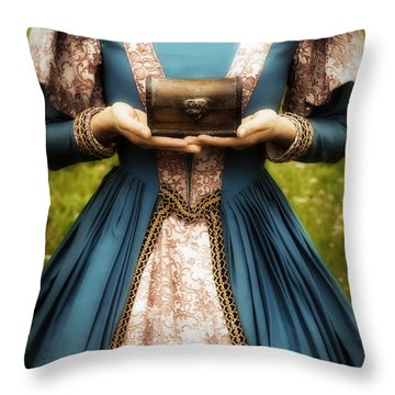 Lady With A Chest Throw Pillow by Joana Kruse