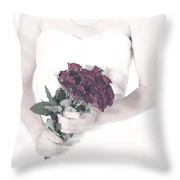 Lady With Roses Throw Pillow by Joana Kruse