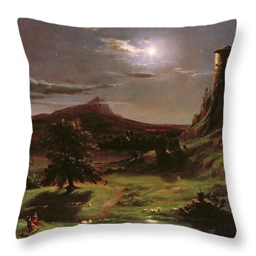 Landscape - Moonlight Throw Pillow by Thomas Cole