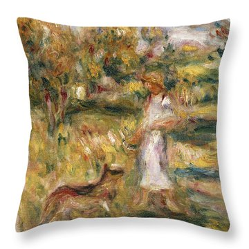 Landscape With A Woman In Blue Throw Pillow by Pierre Auguste Renoir