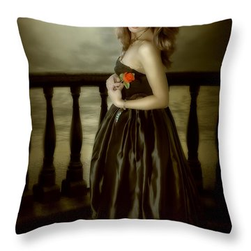 Last Red Rose Throw Pillow by Svetlana Sewell