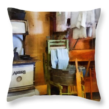Laundry Drying In Kitchen Throw Pillow by Susan Savad