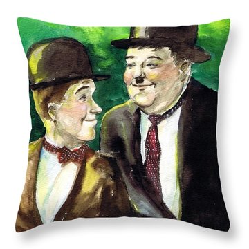 Laurel And Hardy Throw Pillow by Mel Thompson