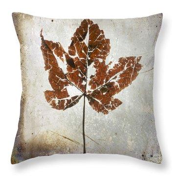 Leaf  With Textured Effect Throw Pillow by Bernard Jaubert