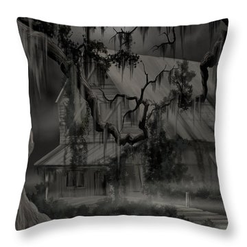 Legend Of The Old House In The Swamp Throw Pillow by James Christopher Hill