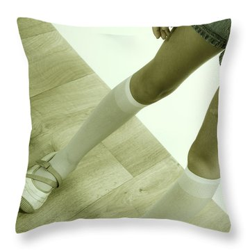 Legs Of A Girl Throw Pillow by Joana Kruse