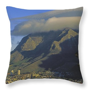Lenticular Cloud Over Table Mountain Throw Pillow by Gordon Wiltsie