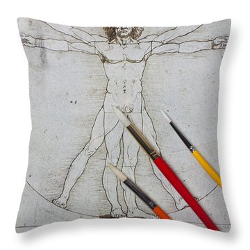 Leonardo Artwoork And Brushes Throw Pillow by Garry Gay