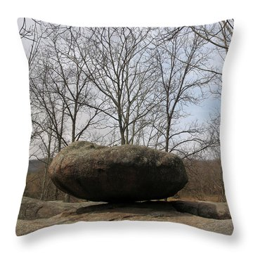 Lichen Covered Granite Boulder Balanced On Hill Throw Pillow by Adam Long