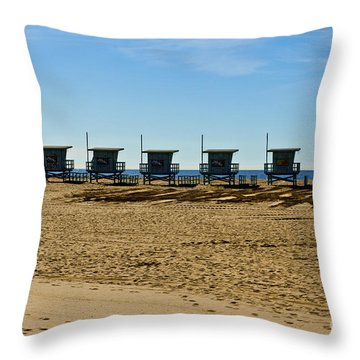 Lifeguard Stand's On The Beach Throw Pillow by Micah May
