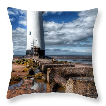 Lighthouse Entrance Throw Pillow by Adrian Evans