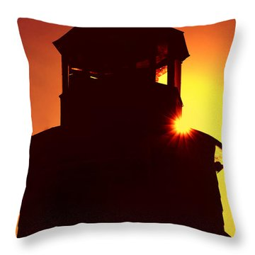 Lighthouse Sunset Throw Pillow by Joann Vitali