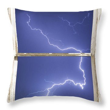 Lightning Strike White Barn Picture Window Frame Photo Art  Throw Pillow by James BO  Insogna