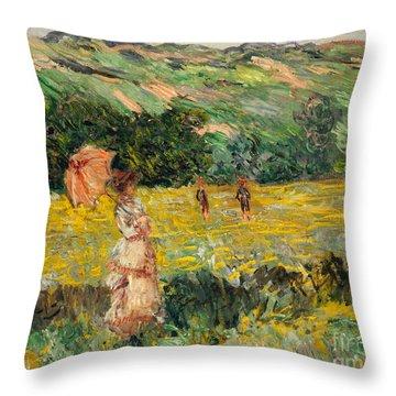 Limetz Meadow Throw Pillow by Claude Monet