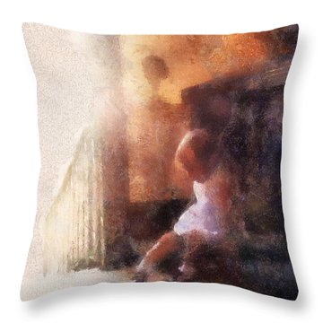 Little Girl Thinking Throw Pillow by Nora Martinez