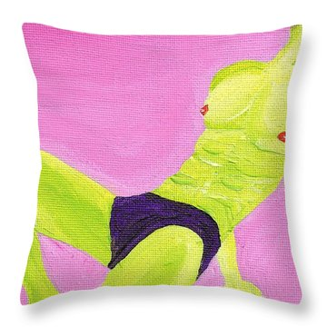 Little Green Man On Pink Throw Pillow by Randall Weidner