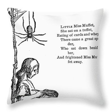 Little Miss Muffet Throw Pillow by Granger