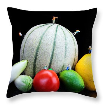 Little People Hiking On Fruits Throw Pillow by Paul Ge