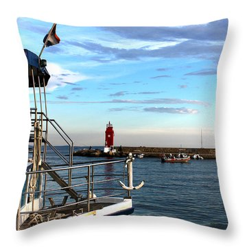 Little Red Lighthouse Throw Pillow by Jasna Buncic