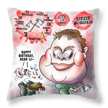 Lizzie Borden Throw Pillow by Mark Armstrong