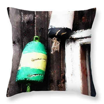 Lobster Buoys Throw Pillow by Betty LaRue