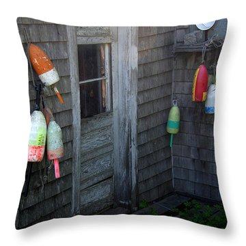 Lobsterman's House Throw Pillow by Brenda Giasson