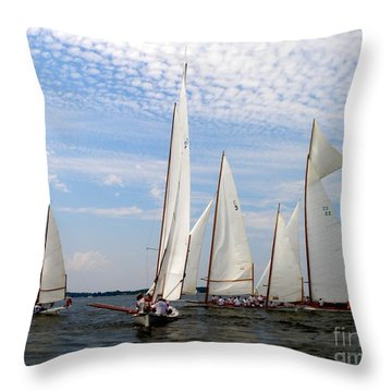 Log Canoes Throw Pillow by Lainie Wrightson