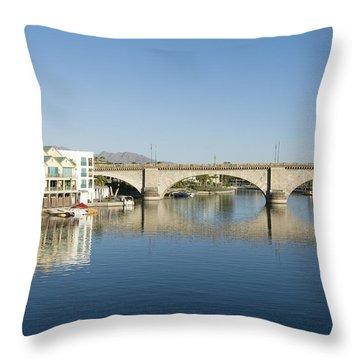 London Bridge And Reflection II Throw Pillow by Gloria & Richard Maschmeyer