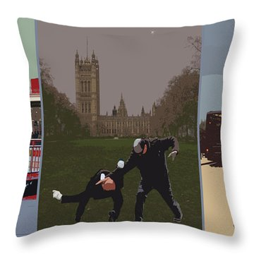 London Matrix Triptych Throw Pillow by Jasna Buncic