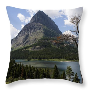 Lone Tree At Sinopah Mountain Throw Pillow by Lorraine Devon Wilke
