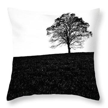 Lone Tree Black And White Silhouette Throw Pillow by John Farnan