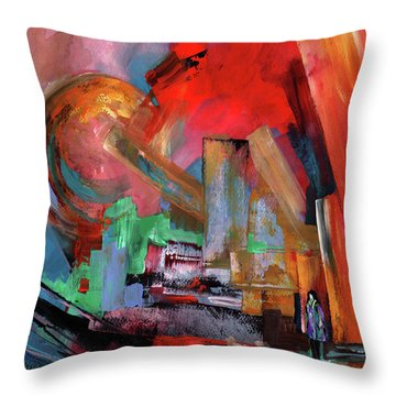 Lonely In The Big City Throw Pillow by Miki De Goodaboom