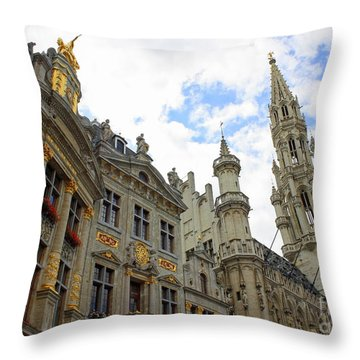 Looking Up At The Grand Place Throw Pillow by Carol Groenen