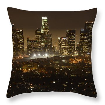 Los Angeles Skyline At Night Throw Pillow by Bob Christopher