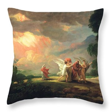 Lot Fleeing From Sodom Throw Pillow by Benjamin West