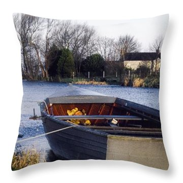 Lough Neagh, Co Antrim, Ireland Boat In Throw Pillow by Sici