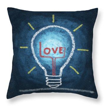 Love Word In Light Bulb Throw Pillow by Setsiri Silapasuwanchai