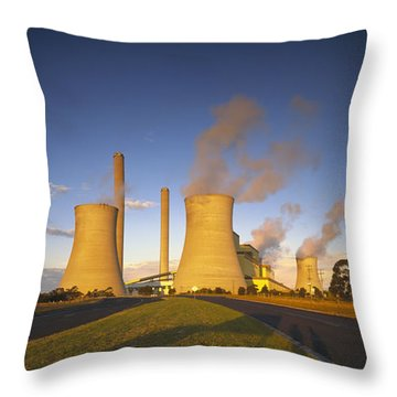 Loy Yang Power Station, Coal Burning Throw Pillow by Jean-Marc La Roque