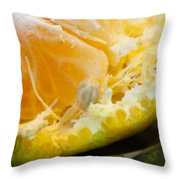 Macro Photo Of Orange Peel And Pips And Main Fleshy Part Throw Pillow by Ashish Agarwal