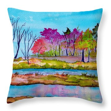 Magenta Woods Throw Pillow by Brenda Owen